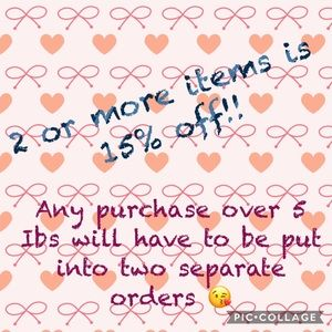 2 or more items is 15% off!! Save on your favs!